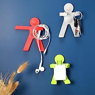 Jetec 3 件粘合墙钩可爱装饰儿童挂钩适用于浴室厨房冰箱卧室悬挂毛巾钥匙浴室球人形人物衣架