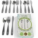 12 件不锈钢儿童银器套装 - 儿童和幼儿*餐具 - 儿童餐具套装 - 金属儿童餐具套装包括 4 个儿童勺子、4 把叉子…