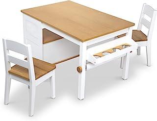 Melissa & Doug 木制艺术桌和2把椅子套装 - 浅木纹/白色