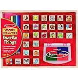 Melissa & Doug 木制邮票集,喜爱的东西 - 26个木制邮票,4色邮票垫