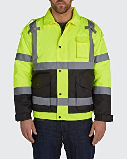 Utility Pro UHV562 Nylon/Polyester High-Vis Quilted Bomber Jacket with Cell Phone Pocket with Dupont Teflon fabric protect...