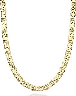Miabella 实心 18K 金纯银意大利3毫米,4毫米,6毫米钻石切割扁平水手链项链,适合女士男士,40.64-76.20 厘米 925 意大利