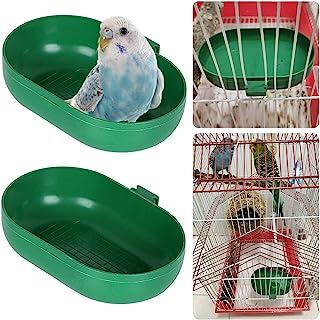 Nobgum 2 件鸟类浴缸食物喂食器托盘碗鸟笼杯盆悬挂鸟沐浴玩具水淋浴盒适用于宠物鹦鹉长尾鹦鹉鹦鹉小鹦鹉Budgie Cage 配件