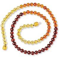 成人波罗的海琥珀项链,带认证琥珀珠 - 彩虹色 - *圆形珠子