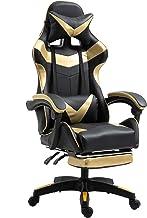 人体工程学电脑游戏椅 PU 皮革赛车椅高背办公椅可调节旋转椅带头枕按摩腰椎支撑脚踏板(金色)