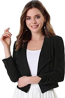 Allegra K 女式商务露脐西装外套,前开缺口翻领长袖工作办公室短夹克
