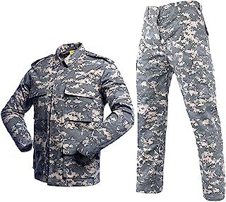LANBAOSI 男式战术 BDU 制服战斗服军事衬衫夹克外套和裤子套装