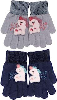 儿童冬季弹力针织手套温暖可爱卡通独角兽手套男孩女孩(3-8 岁)