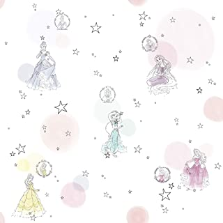 Komar 迪士尼无纺布壁纸 - 公主漂亮粉彩- 1卷 - 尺寸:10.05 x 0.53米 - 儿童房,公主,女王,童话,女孩