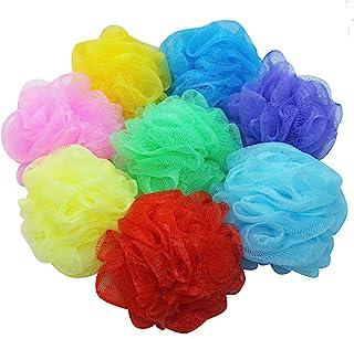 Bath Loofah 海绵淋浴袋,8 件装儿童丝瓜沐浴袋网眼沐浴海绵彩色身体磨砂球淋浴网 适合儿童女孩