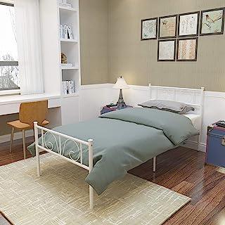 GIME 金属床框全尺寸,Yanni 10 腿床垫粉底两个头板 黑色平台床架 弹簧更换,白色