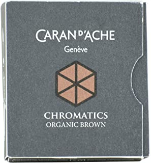 Pk/6 Caran d'Ache Chromatics Fountain Pen Ink Cartridges, Organic Brown