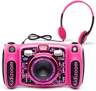 VTech 伟易达 Kidizoom Duo 5.0 豪华数码自拍摄像头,带 MP3 播放器和耳机,粉色