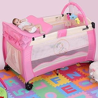 Bakaji 野营婴儿床,适用于新生儿,带换尿布垫和可拆卸玩具,金属框架,可折叠,带拉链,侧口袋,滚轮和储物袋(粉色)
