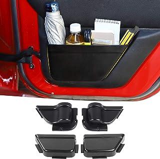 RT-TCZ 前门储物口袋门侧插入收纳箱 Jeep Wrangler 2011-2018 JK JKU 4 门内部存储扩展配件 黑色 4 件