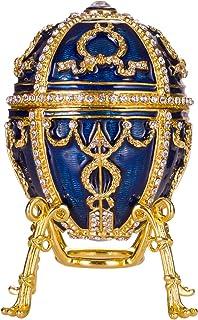 俄罗斯法贝吉风格玫瑰花蕾蛋/饰品珠宝盒带花朵和吊坠 3.8 英寸(约 9.1 厘米)蓝色