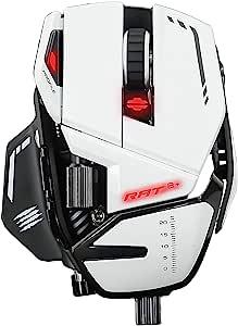 Mad Catz 正品 R.A.T. 8+ 光学游戏鼠标 - 白色
