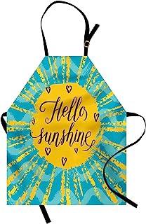 Ambesonne Hello Sunshine 围裙,太阳图案波浪海洋主题背景文字,中性款厨房围兜带可调节颈部烹饪园艺,成人尺寸,蓝色黄色