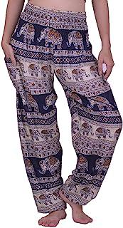 LOFBAZ 女式哈伦裤大象瑜伽波西米亚嬉皮孕妇睡衣服装 大象 14 *蓝 Medium