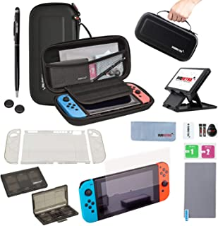 EVORETRO 任天堂 Switch 配件套件 - 黑色 | 套装带旅行箱、游戏卡夹、拇指握把、钢化玻璃、TPU 保护套、笔触、折叠支架