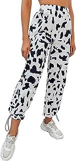 WDIRARA 女式牛印花松紧腰抽绳下摆运动裤 运动慢跑裤