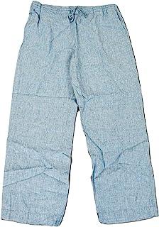 ◈俱乐部 女式亚麻编织抽绳腰带裤子 天蓝色 S 码