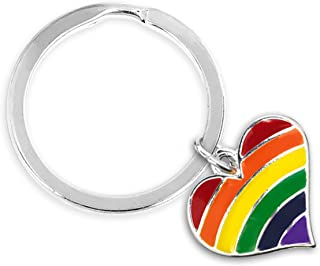 Gay Pride Awareness 彩虹心形 - 圆形钥匙链 01 Keychain Heart Key Chain