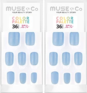 MUSE & Co 粘胶 36 乳* 中等长度光泽哑光奶油蓝色调色板(2 件装)