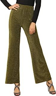 Allegra K 女式闪亮金属金色弹性腰部针织阔腿裤