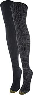 Gold Toe 女式再生露营过膝袜,2 双,炭黑色,鞋码 6-9