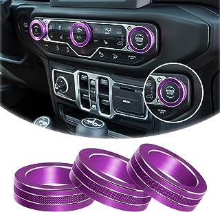 铝合金内饰配件空调开关旋钮环盖装饰盖适用于 2018-2021 吉普牧马人 JL JLU 和 Jeep 角斗士(紫色)