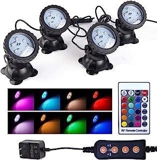 更新草坪灯防水 IP 68 潜水聚光灯带计时器 LED 变色聚光灯适用于水族箱花园池塘池塘喷泉瀑布(4 件套)