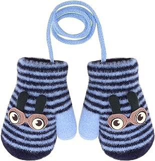 幼儿条纹冬季厚毛绒内衬针织手套全指手套