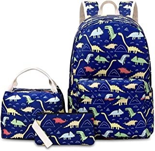 MITOWERMI 卡通恐龙印花小学书包 3 合 1 背包套装带午餐手提包铅笔盒 蓝色