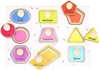 Pidoko 儿童几何形状拼图 - 巨型旋钮 - 幼儿学习玩具