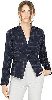 Allegra K 女式单排扣立领工作正装格子西装外套