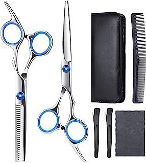 理发剪刀 6 件套专业理发剪刀套装 理发剪刀 理发剪刀 理发剪刀 美发剪 黑色皮套 发夹和梳子