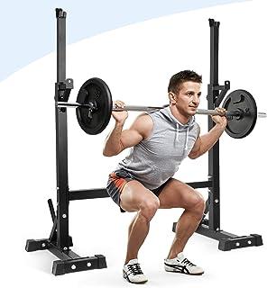 amzdeal 可调节深蹲架、多功能杠铃架、家用健身器材、力量训练、举重、自由长凳、压力浸渍站、*大承重 500 磅