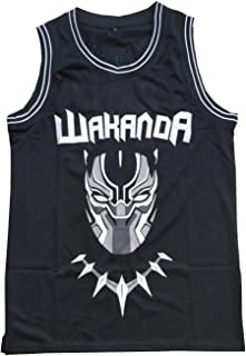 MESOSPERO 男式黑豹球衣 #1 T'Challa #2 Killmonger 篮球球衣缝制黑色 S-3XL