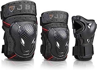 JBM BMX 自行车护膝和护肘带护腕护具套装 适用于自行车、骑行、骑行等运动*保护:滑板、滑板、自行车、内联滑冰