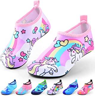 Sunnywoo 涉水鞋适合女童男孩、幼儿儿童游泳水鞋速干防滑水皮肤赤脚运动鞋水袜适合海滩户外运动