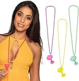 Boland 52488 – 项链鸡尾酒酒杯,1件,3种颜色,成人,杯链,派对链,珍珠项链,带玻璃,单身派对,嘉年华,主题派对,万圣节
