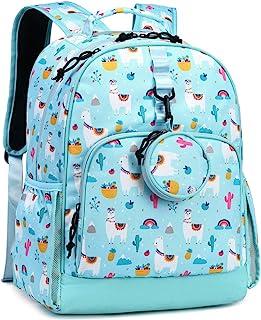 Choco Mocha 羊驼队学生背包,适合女孩小学书包 14 英寸笔记本电脑小学生包,防水圣诞礼品蓝*