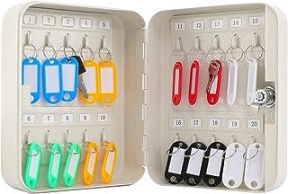 KYODOLED Key Cabinet Wall Mount,Locking Key Organizer,Key Lock Box with Key,Key Management with Key Lock,20 Key Hooks & Ta...