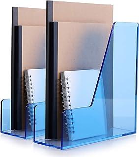SANRUI 杂志文件架收纳架桌面收纳架透明亚克力垂直水晶蓝色 2 件装