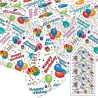 庆祝桌布生日快乐派对套装白色餐厅优质面料可机洗和烘干免烫无污渍包括 (1) 54 x 121 英寸(约 137.2 x 304.8 厘米)桌布和 (12) 17 x 17 英寸(约 43.2 x 43.2 厘米)餐巾纸