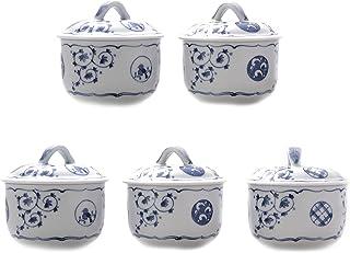 西海陶器 中盆 白色/蓝色 300ml 美浓烧 唐草圆纹盖物(5个装)
