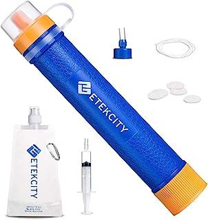 Etekcity 滤水器吸管,带 1500 升 3 级过滤,0.01 微米,个人迷你净化救生齿轮,适用于远足、露营、旅行、紧急情况