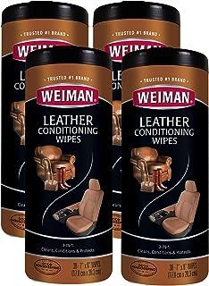 Weiman 皮革湿巾 - 30 片(2 包) - 清洁状况防紫外线,有助于防止皮袋、汽车座椅、鞋子、钱包的开裂或褪色 4 Pack 4 件装