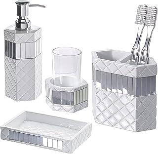Creative Scents 绗缝镜浴室配件,4 件套,包括肥皂分配器、牙刷架、玻璃杯和肥皂盒,礼品包装,表面为白色和银色镜面装饰